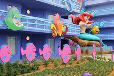 The Little Mermaid wing at Disney's Art of Animation Resort Disney Value Resorts, Disney World Resorts, Disney Vacations, Disney Trips, Walt Disney World Orlando, Disney Parks, Disney Art Of Animation, Modern Disney Characters, Disney Aesthetic