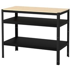 BROR Work bench, black, pine plywood. Heavy-duty, our way – a sturdy storage system that withstands moisture, dirt and heavy loads. Also easy to assemble, complete as needed and fits everywhere thanks to its clean design. Deep Shelves, Small Shelves, Banco Ikea, Kitchen Island Trolley, Kitchen Islands, Kitchen Carts, Ikea Kitchen, Rustic Kitchen, Ikea Regal