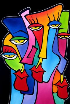 The best in original abstract art, pop art, modern art, sculpture and modern paintings. Large paintings using bright colors and bold lines that make Abstract Faces, Abstract Art, Pop Art Collage, Tableau Pop Art, Cubist Art, Modern Pop Art, Modern Art Prints, Picasso Art, Picasso Prints