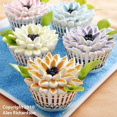 Mum's Cupcakes How-To, Make Cute Flower Cupcakes For Mother's Day    http://www.fancyflours.com/product/mums-cupcakes-how-to/Spring_and_Easter_Themed_Recipes