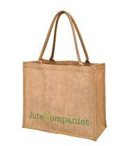 Jutebag med logo trykket i silketrykk-teknikk Jute, Burlap, Reusable Tote Bags, Logo, My Love, Products, Logos, Hessian Fabric, Beauty Products