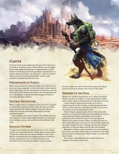 The Canite: a playable race of dog-like humanoids : UnearthedArcana Dungeons And Dragons Classes, Dungeons And Dragons Homebrew, Dungeons And Dragons Characters, Dnd Characters, Fantasy Characters, Fantasy Character Design, Character Inspiration, Dnd Backgrounds, Dog Classes