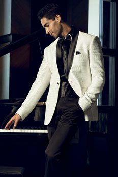 Jacquard Silk #Tuxedo Suit with satin lapel, by @Laura Jayson Braun Kluenenberg