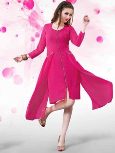 Marvelous pink georgette and crepe casual wear tunic. Having fabric georgette and crepe. This beautiful attire is showing amazing design. Gives you a stunning look for party or an occasion or any festivals #mydesiwear #FusionWear #Tunics #GeorgetteTunics #TrendyTunics #LatestTunics #FestivalWearTunics #PartyWearTunics #WomensFashion #StyleWedding #WeddingTrendz #ValentinesDay2018 #OnlineShopping