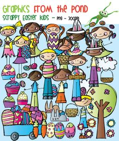 Scrappy Easter Kids Clipart