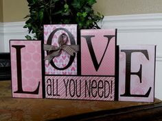 Cute Valentine blocks - I want to try this with mod podge