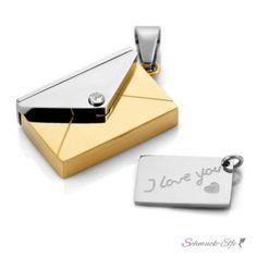 Anhänger Liebesbrief  316 L  Edelstahl gold Silber inkl....
