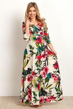 4d987d52f01 Ivory Multi-Color Tropical Maternity Wrap Maternity Maxi Dress