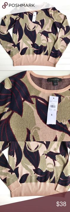 NWT Ann Taylor Abstract Jacquard Sweater, Size S NWT Ann Taylor Purple & Gold Abstract Jacquard Print Sweater. Gold metallic accents.  Size S 82% Super Fine Merino Wool Beautiful sweater, light enough to wear in fall! Comes from a smoke free home. Check out my other listings for a bundle deal! Happy Shopping Ann Taylor Sweaters Cardigans