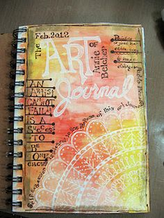 art journal page doodle arc in white after painting page in dark ......contrast