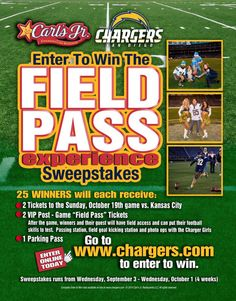 Field Pass by San Diego Chargers NFL