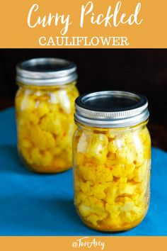 Curry Pickled Cauliflower - Exotic curry-flavored cauliflower pickle recipe with a healthy dose of turmeric spice Includes instructions for canning or refrigerator pickles Cauliflower Pickle Recipe, Pickled Cauliflower, Cauliflower Curry, Cauliflower Recipes, Turmeric Spice, Turmeric Recipes, Best Nutrition Food, Health And Nutrition, Nutrition Guide