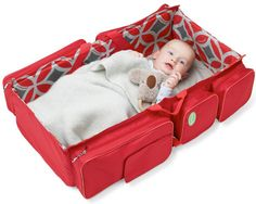 3-in-1 Travel Bassinet. Diaper bag that converts into a change station / bassinet. Brilliant.