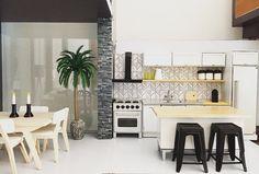 Modern dollhouse kitchen