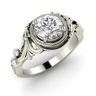 0.83 Ct SI1 Diamond Classic Vintage Look Engagement Ring in Solid 14k White Gold