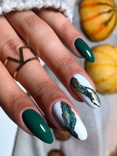 Dark Green Nails, Dark Nails, Gel Nails, Manicure, Dark Green Nail Polish, Dark Nail Art, White Nails With Gold, Green Nail Art, Coffin Nails