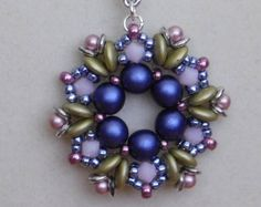 Beading Tutorial Jewelry Pendant Pattern by poetryinbeads on Etsy