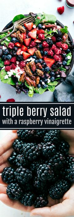 The BEST berry salad with candied pecans and the ultimate raspberry vinaigrette! Easy to make and sure to be an absolute hit!