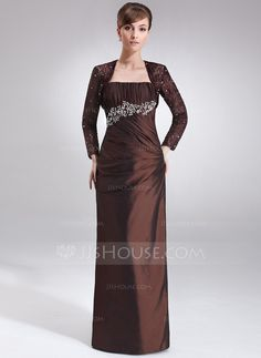 Sheath/Column Strapless Floor-Length Taffeta Mother of the Bride Dress With Ruffle Beading (008021716)