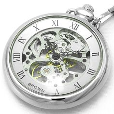 BROWN pocket watch mechanical both sides skeleton 925J-SVSV - http://www.specialdaysgift.com/brown-pocket-watch-mechanical-both-sides-skeleton-925j-svsv/