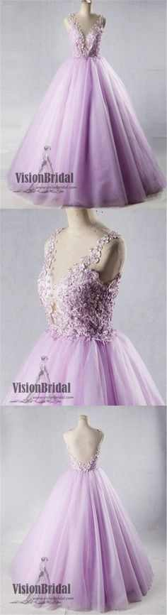 2018 Beautiful Lavender Flower Appliques Deep V-Neck Open Back Ball Gown, Charming Long prom Dress, VB0398 #promdress #promdresses #longpromdresses