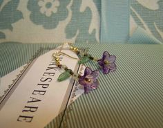 Auction 1822896 Image 1-Purple, Green and Bronze Handcrafted Dangling Flower Earrings, on Gold Wires