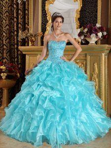 Fancy Aqua Blue Sweetheart Ruffled Quinceanera Dress Made in Organza Fabric