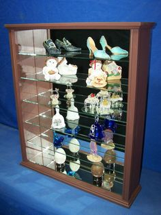 Mahogany Wood Glass Wall Curio Cabinet by billscustomwoodworks Wall Curio Cabinet, Curio Cabinets, Wood Cabinets, Shelf Display, Table Top Display, Led Puck Lights, Wall Boxes, Wood Glass, Custom Woodworking