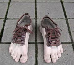 "These seriously freak me out because I can see some random serial killer doing this with the foot of a victim and everyone saying ""oh cool - I saw those shoes on Pinterest""...."