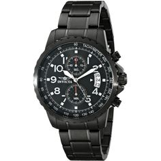 Invicta Men's 13787 Specialty Black Ion-Plated Stainless Steel Watch ($98) ❤ liked on Polyvore featuring jewelry, watches, invicta watches, black wrist watch, stainless steel jewellery, invicta wrist watch and kohl jewelry