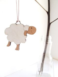 Sheep Ornament  kids HOLIDAY decor wooden holiday by Shellyka