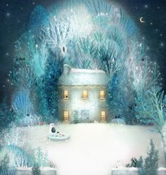 Lisa Evans - Illustration by firefluff Winter Illustration, Children's Book Illustration, Lisa Evans, Evans Art, Naive Art, Whimsical Art, Winter Scenes, Art Prints, Artwork