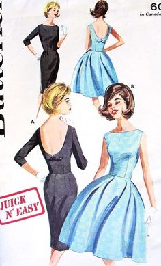 1960s Evening Dress Pattern Butterick 2733 Such a cute back!