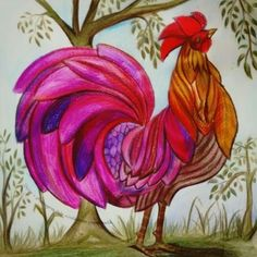 Rooster Art Chicken Colouring Techniques Coloring Book Pages Doodle Coq Lessons Animal Kingdom Johanna Basford Tropical Rain Forest