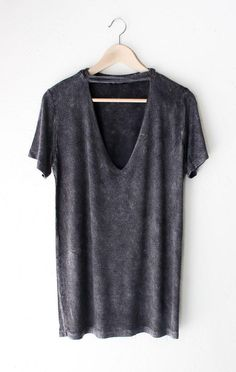 300a6a668d Deep V-neck Cutout Acid Wash Shirt