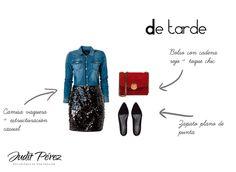 Cómo combinar una falda glitter para un look de tarde. #comocombinar #looksnochebuena #looksnochevieja #looksnavidad