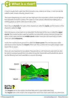This year 6 geography worksheet includes interesting facts about rivers. Children read the comprehension and answer the questions.