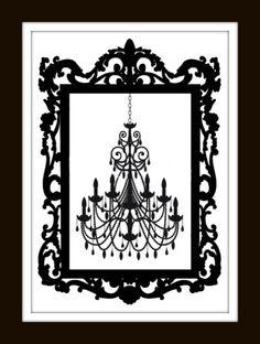 Chandelier Silhouette Cross Stitch Pattern by LosAngelesNeedlework