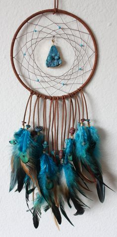 Brown & Turquoise Dream Catcher with a Turquoise Agate Druzy