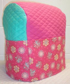 Turquoise & Hot Pink Quilted Floral Cover for Sunbeam Heritage Series 4.6qt Mixmaster Stand Mixer w/6 Pockets