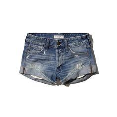 Abercrombie & Fitch Low Rise Boyfriend Short ($19) ❤ liked on Polyvore featuring shorts, bottoms, abercrombie, jean shorts, pants, medium wash, boyfriend shorts, short shorts, ripped jean shorts y denim shorts