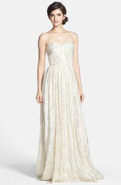 Foiled Silk Chiffon Gown