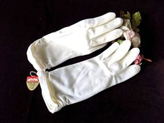 Double Woven Nylon Gloves in White from Hong Kong with Tags Size B: 7 1/2,   8,   8 1/2 by EyeSpyGoods on Etsy