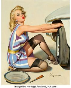 Pin-up and Glamour Art, GIL ELVGREN (American, 1914-1980). Quick Change, Brown &Bigelow calendar illustration, 1967. Oil on canvas. 30 x 24in....