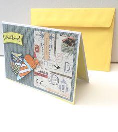Glückwunschkarten - Karte zur Einschulung EULE - ein Designerstück von POMMPLA bei DaWanda