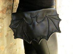 Black Faux leather bat bag Black leatherette bat bag by FiMachine