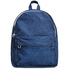 Front Pocket Denim Backpack ($52) ❤ liked on Polyvore featuring bags, backpacks, day pack backpack, backpack bags, denim bags, rucksack bags and blue bag