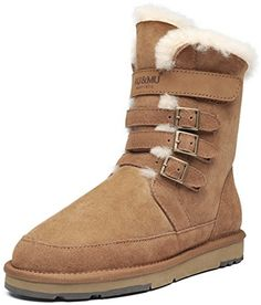 AUMU Womens Mid Calf Snow Boots Short Winter Boots 11 Chestnut ** Want additional info? Click on the image. (This is an affiliate link)