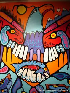 By Mark Anthony Jacobson kK Native American Paintings, Native American Artists, Totem Pole Art, Mouth Drawing, Haida Art, Indian Artist, Indigenous Art, Art Themes, Aboriginal Art