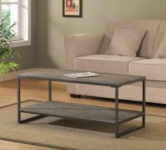 Elements Grey/Brown Coffee Table with Shelf | Overstock.com Shopping - Great Deals on Coffee, Sofa & End Tables